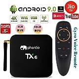 PHANTIO TX6 Android 9.0 Smart TV Box : JIO TV Hotstar DualBand WiFi Bluetooth Quad-Core 3D 4K Ultra HD H.265 Decoding USB3.0 Airtel TV Netflix YouTube and More (4GB / 64GB)