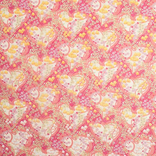 Liberty of London Amy Jane Pink/Yellow Silk-Cotton Voile, Pattern: Hearts