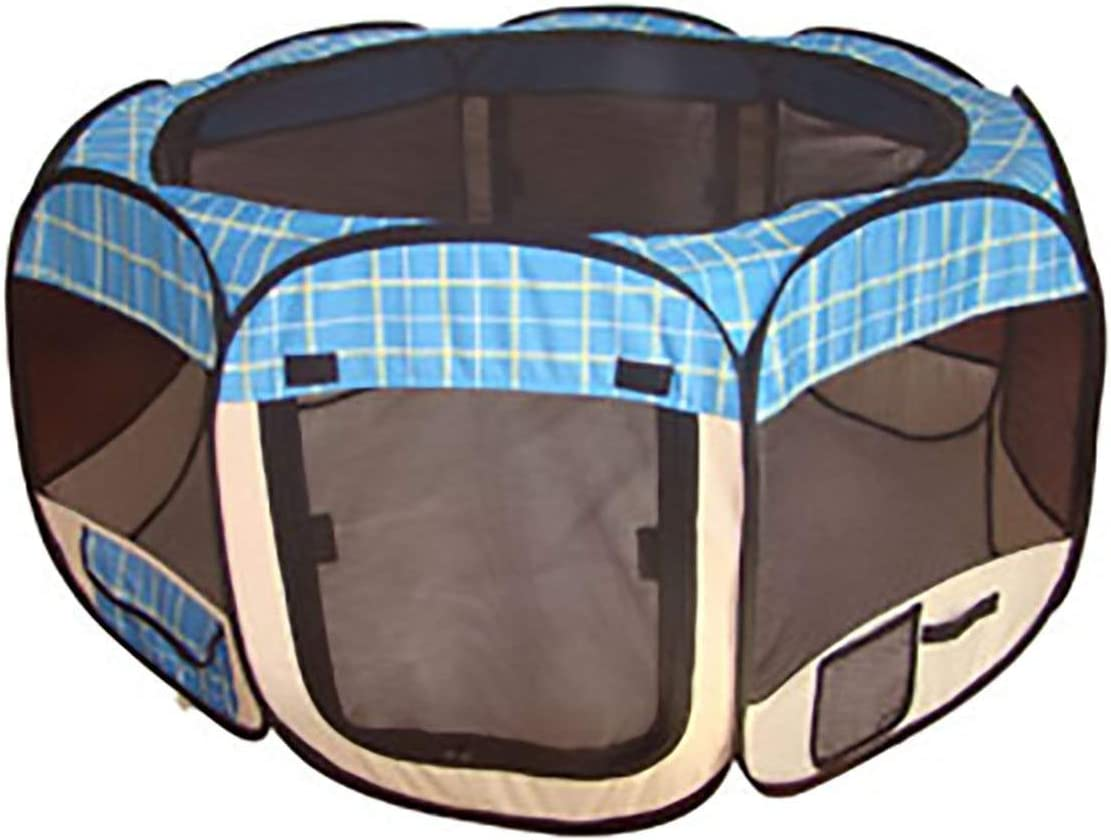 BestPet Blue Grid Pet Tent Exercise Pen Playpen Dog Crate XS