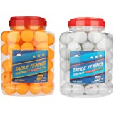 60 Pcs 3-Star 40mm Table Tennis Balls Durable Practice Ping Pong Balls for Competition Training Entertainment - Orange, White Color
