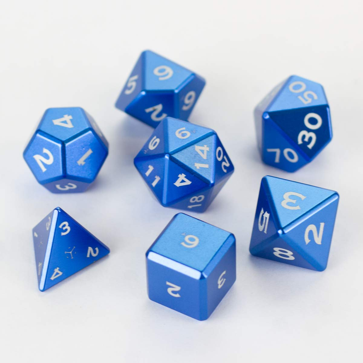 Gravity Dice Metal POLYHEDRAL 7 DICE Set Gloss Light Blue