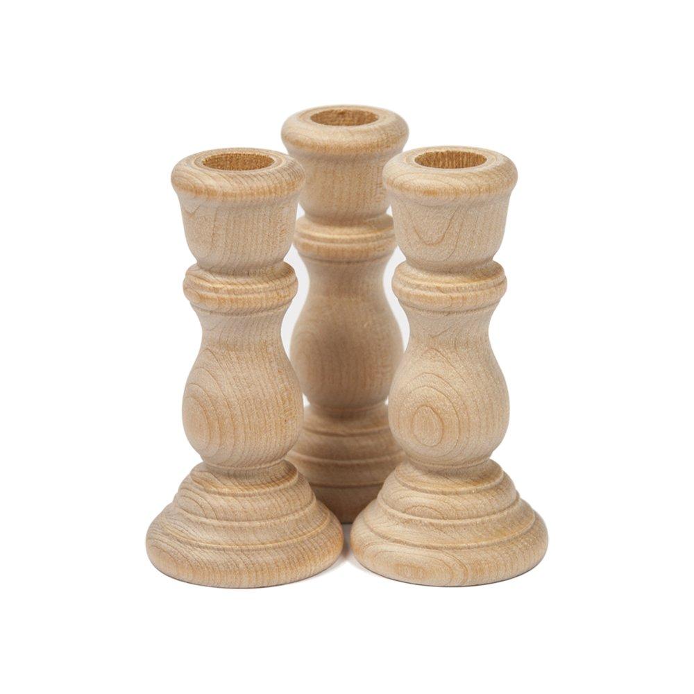 "Unfinished Wood Candlesticks 3/"" Bag of 3 Unfinished Candlesticks 3 Inch"