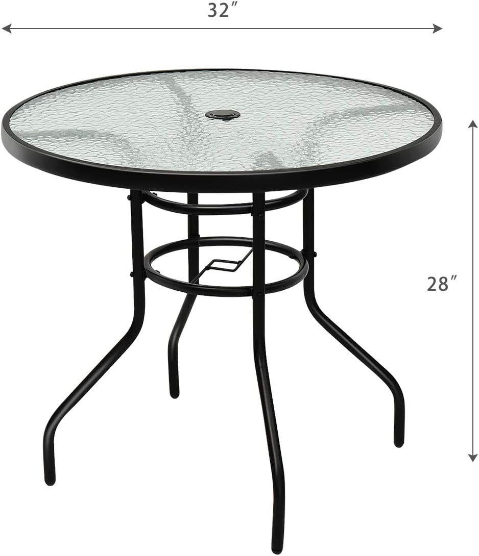 """Tangkula 32"""" Outdoor Patio Table Round Steel Frame Tempered Glass Top Commercial Party Event Furniture Conversation Coffee Table for Backyard Lawn Balcony Pool with Umbrella Hole: Kitchen & Dining"""