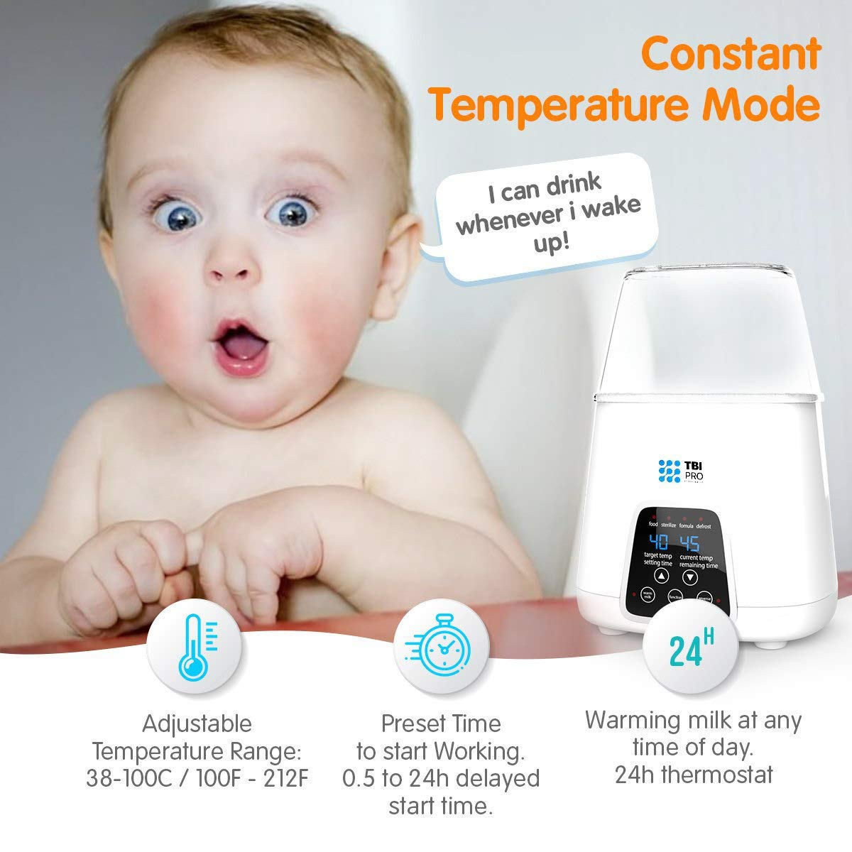 New 2019 Bottle Warmer 5-in-1 BPA-Free Premium Quick Baby Bottle Warmer and Sterilizer with Timer Breastmilk and Formula Defrosting and Heating Settings for Baby Food