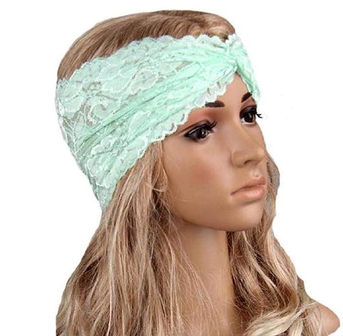 Women Headwear Twist Sport Yoga Lace Headband Turban Headscarf Wrap Black at Amazon Womens Clothing store: