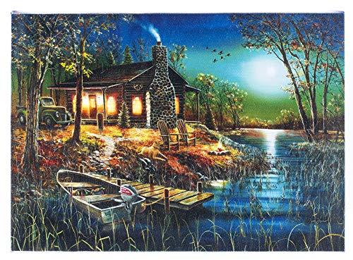 Oak Street Midnight Fishing On Lake LED Art 8