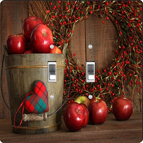 Design Double Toggle Switch - Rikki Knight Autumn Apples in Wood Bucket Design Double Toggle Light Switch Plate