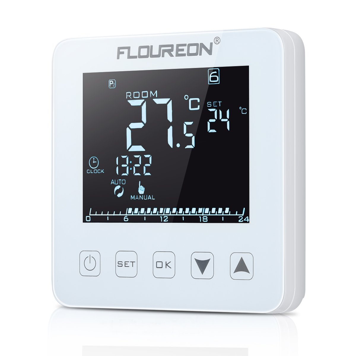 FLOUREON Heating Thermostat LCD Touchscreen Backlight Programble 5+2/6+1/7 Weekly 6 Stages Daily 24Hr Underfloor Heating Thermostat and Temperature Controller (White)