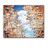 Mouse Pad Unique Custom Printed Mousepad Rustic Sky Through A Crack Of A Brick Wall Clouds Independence Concept White Blue Tile Red Stitched Edge Non Slip Rubber
