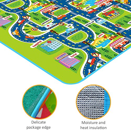 Tiny Wonders Kids Activity Creeping Play Mat, Baby Learning Decor Rug with Road Traffic, Infants Educational Car Carpet with City Town Map, Large and Thick for Floor Bedroom Playroom Safe Area Game by Tiny Wonders (Image #2)