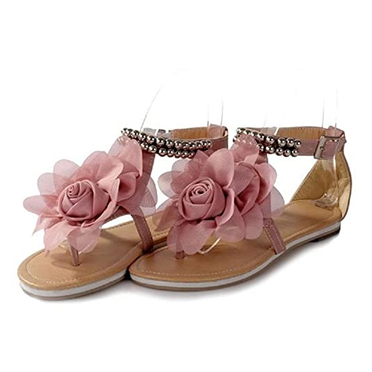 Minetom Damenschuhe Böhmen Stil Blume Schuhe Sommer Sandalen Sandaletten Glitzer Partei Riemchen Zehentrenner Rom Flip Flops ( Pink EU 40 ) NYjSeQ