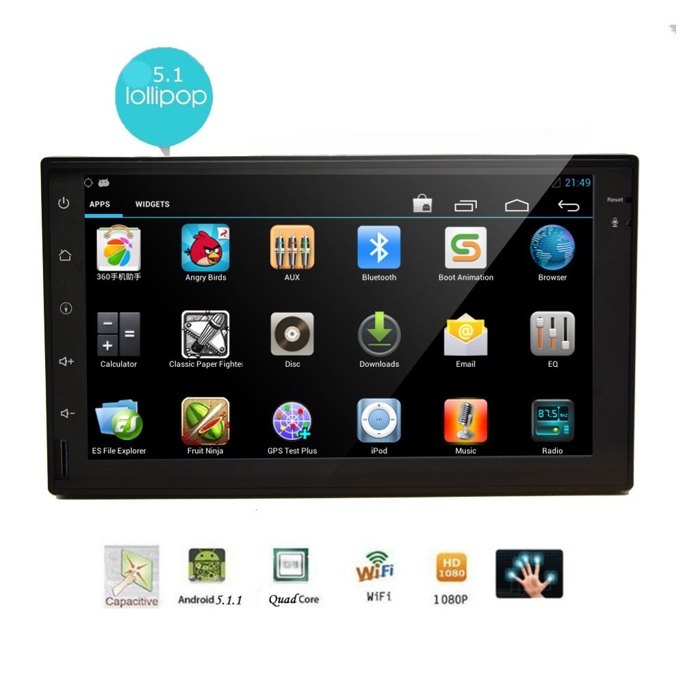 New Arrival EinCar 7 inch Android 5.1 Double 2 Din Car NO DVD Player in Dash FM/AM Radio 1080P Video Audio Multimedia Player Support WIFI GPS Bluetooth Mirror link 3G/4G System by EinCar