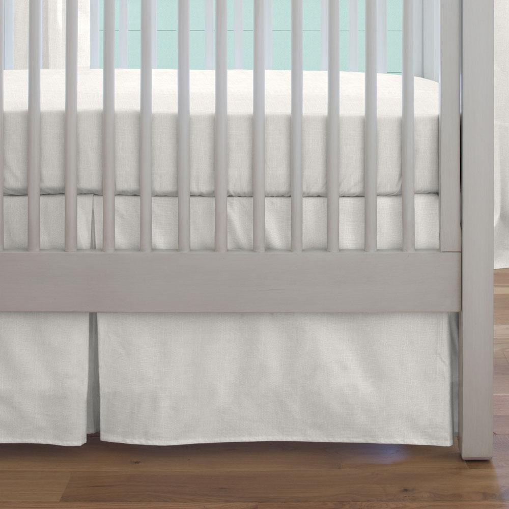 Carousel Designs Ivory Linen Crib Skirt Box Pleat 14-Inch Length
