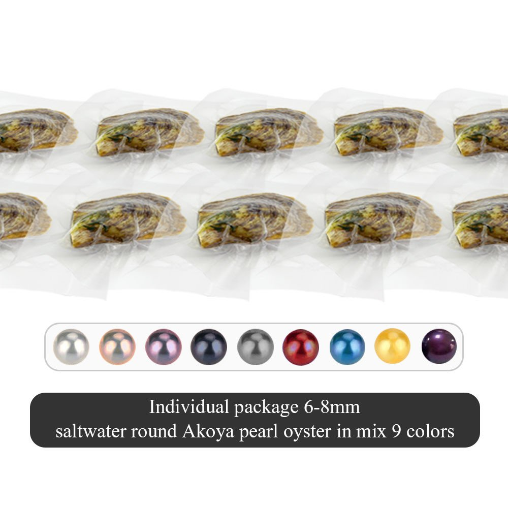 30PCS of Mixed 9 Colors Individual Packed 6-8mm Saltwater Round Akoya Cultured Pearl Oyster
