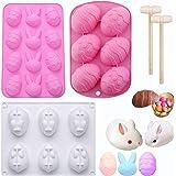 3 moldes de silicona para huevos de Pascua, huevos de Pascua, chocolate, chocolate, 3D, conejo, pascua, pasteles, moldes de s