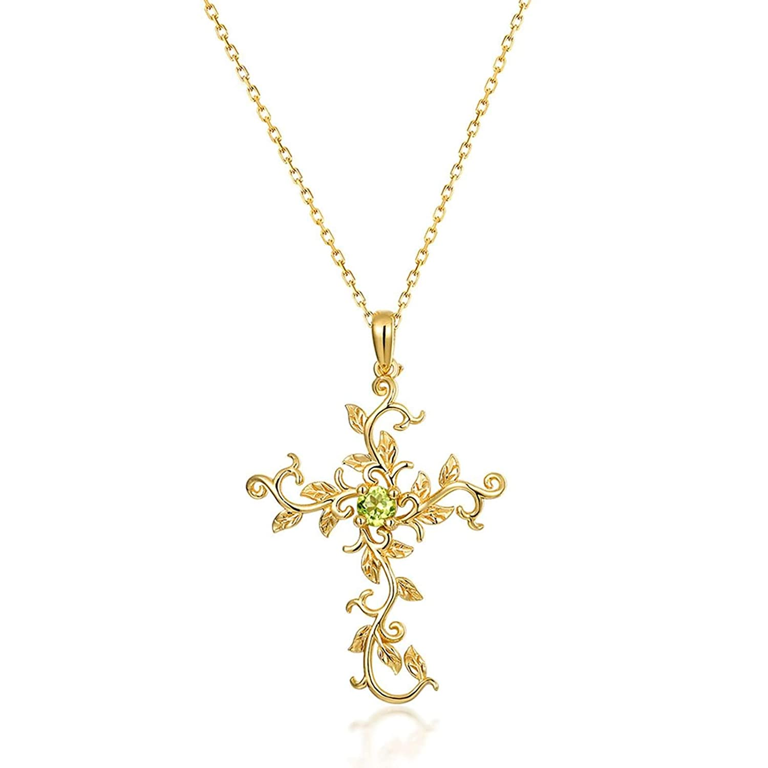 Epinki 925 Sterling Silver Necklace for Women Girls Gold Peridot Clavicular Chain Vines Flower Pendant Necklace