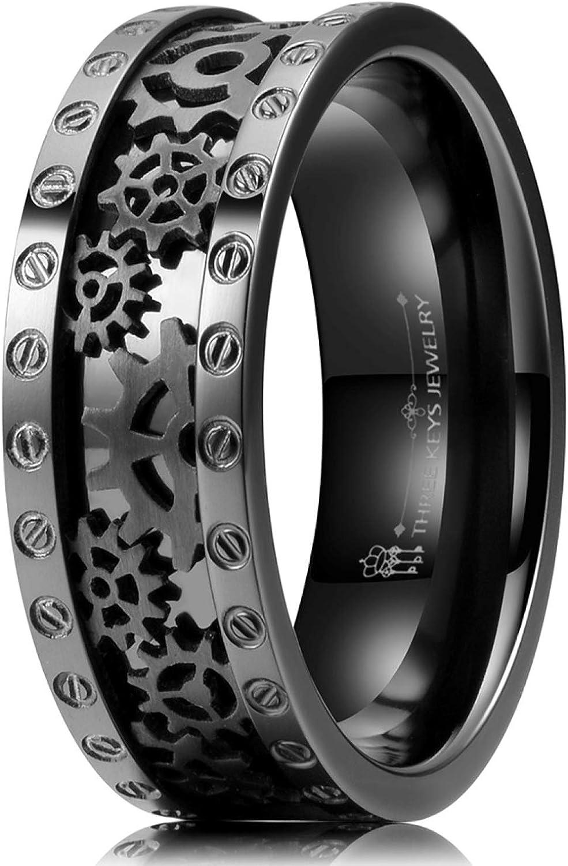Titanium Steel Black Carbon Fiber Men/'s Cool Rings Ring Angel Jewelry Fashion.