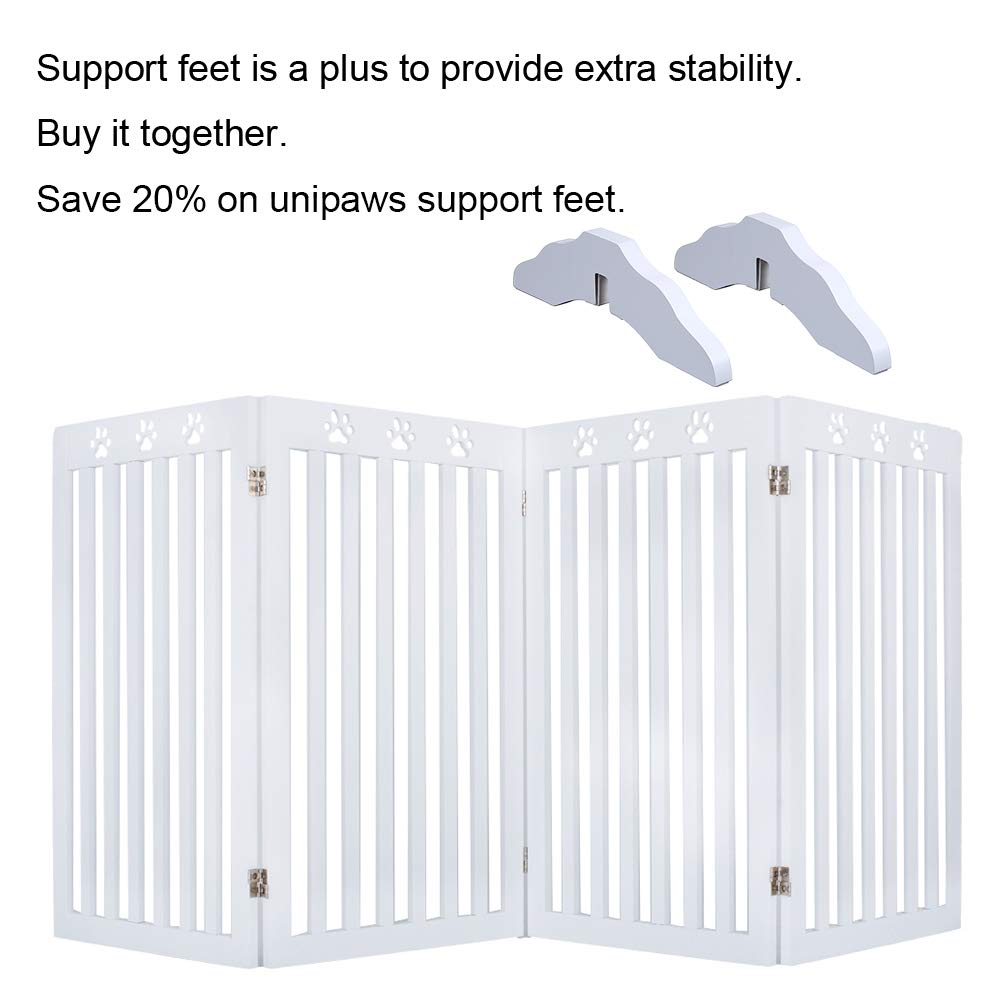 unipaws Freestanding Paw Deco Pet Gate, Foldable Assembly-Free Wooden Dog Gate, Step Over Fence Puppy Gate for Doorway, Stairs,White (20'' Wx36 H,4 Panels) by unipaws (Image #5)