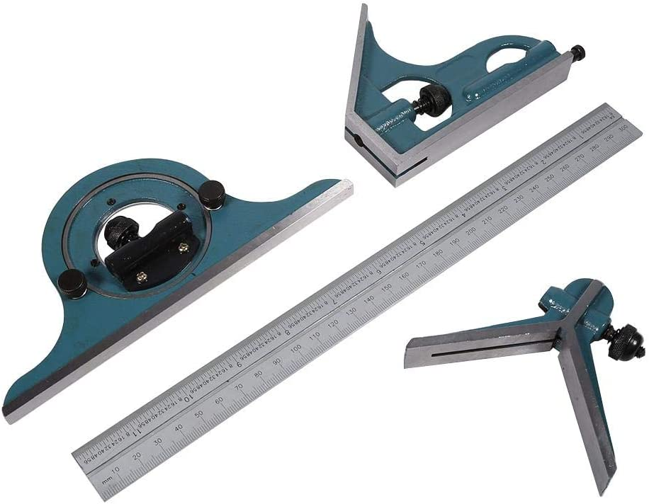 Green Combination Square Protractor Ruler Set Universal Bevel Set Stainless Steel Bevels 180 Degree Inner And Outer Angled Parts Measured Tools Set