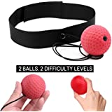 KWOW Boxing Reflex Ball, 2 Difficulty Level speed Balls with Headband, Softer than Tennis Ball, Perfect for Fitness, Boxing Focus Punching Improvement and Hand Eye Coordination Training Cardio Training Used by Professional MMA, UFC and Boxing fighters