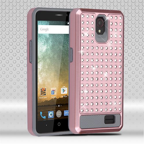 Cell Accessories For Less (TM) ZTE Prestige N9132 Avid Trio Z833 Rose Gold/Iron Gray Diamante FullStar Case Cover Bundle (Stylus & Micro Cleaning Cloth) - By TheTargetBuys