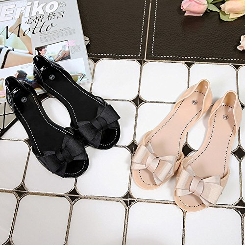 Toe Style Des Fille Bowknot Beige Classique Avec Pointu Minetom Confortable Sandales Été Chaussures Casual Rétro Plat Peep Femme Bout pw441Iqz