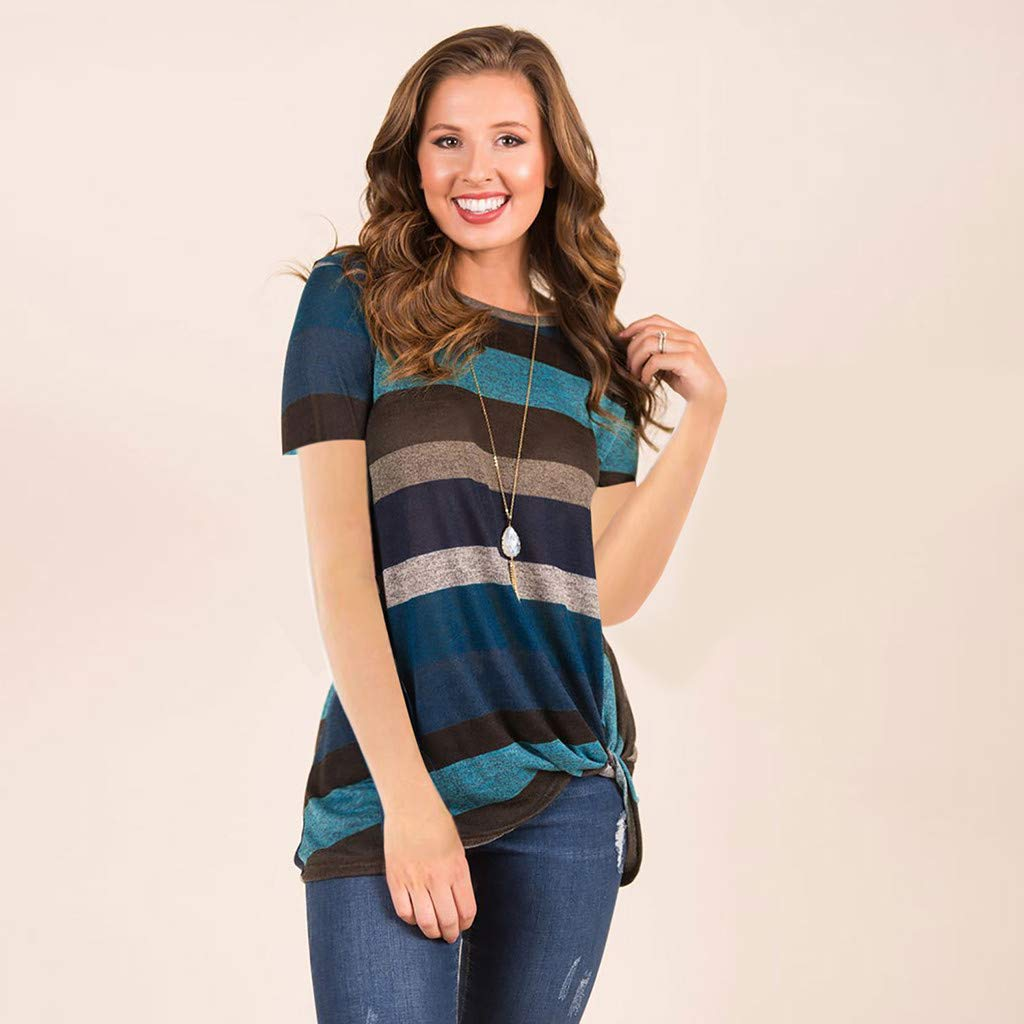 Morecome Womens Color Block Round Neck Casual Stripe T Shirts Tunics Tie Knot Henley Tops Blouses
