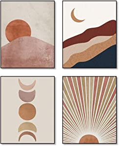 """Watercolor Abstract Art Mountains And Sun And Moon Boho Art Painting Set of 4 (8""""X10"""" Canvas Picture) Mid Century Wall Art Modern Geometric Wall Art Living Room Decor Bathroom Bedroom Decor UNFRAMED"""