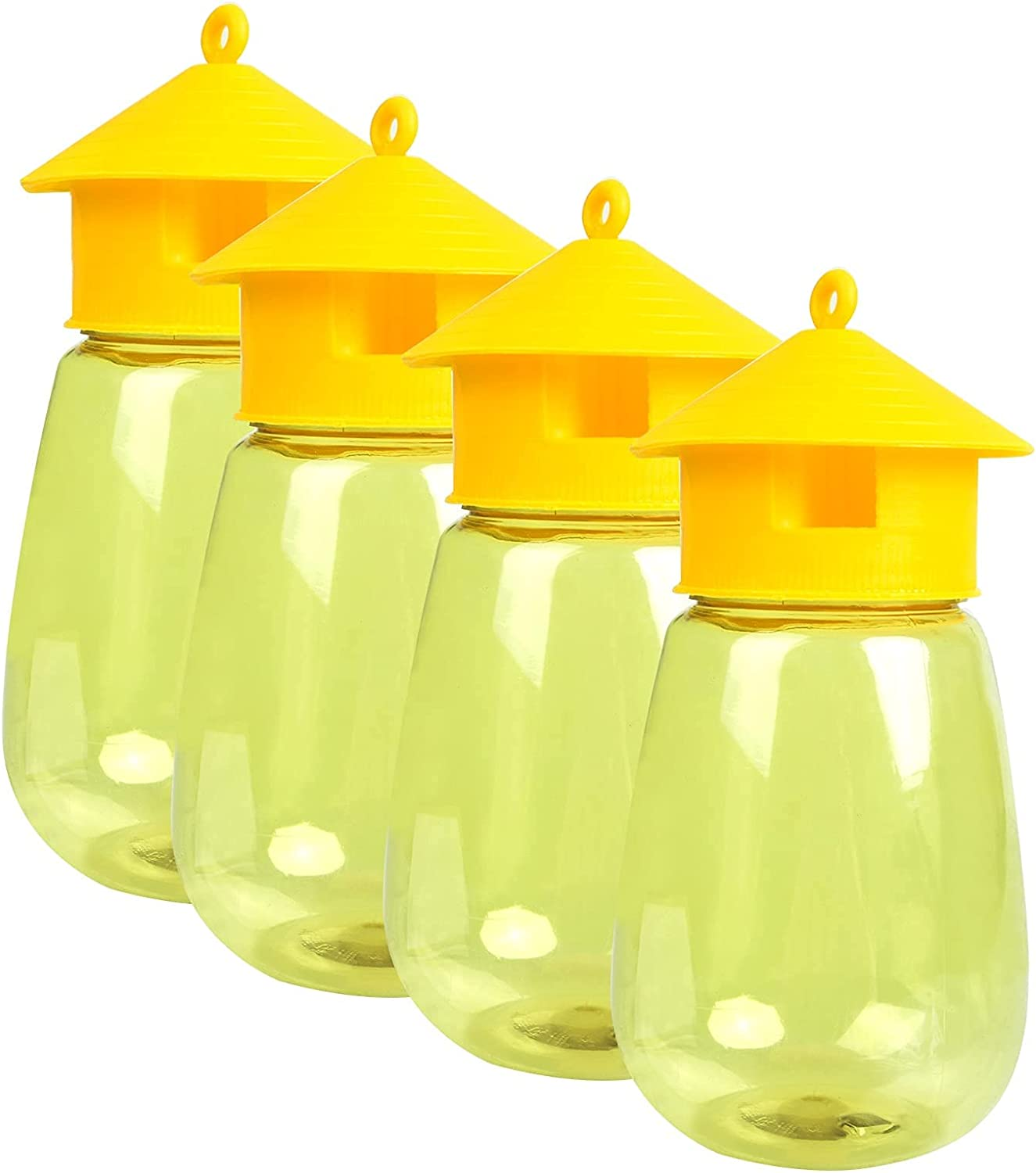 Dwcom 4 Pack Fruit Fly Traps Outdoor, Reusable Fly Traps and Fly Catcher,Insect Bug Killer for Garden Farm