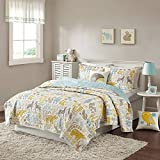 4 Piece Cute Kids Grey Aqua Blue Teal Yellow White Full Queen Coverlet Set, Woodland Creatures Themed Bedding Deer Owl Bunny Rabbit Fox Squirrel Bear Animal Striped Fun Adorable Stylish Arrow, Cotton