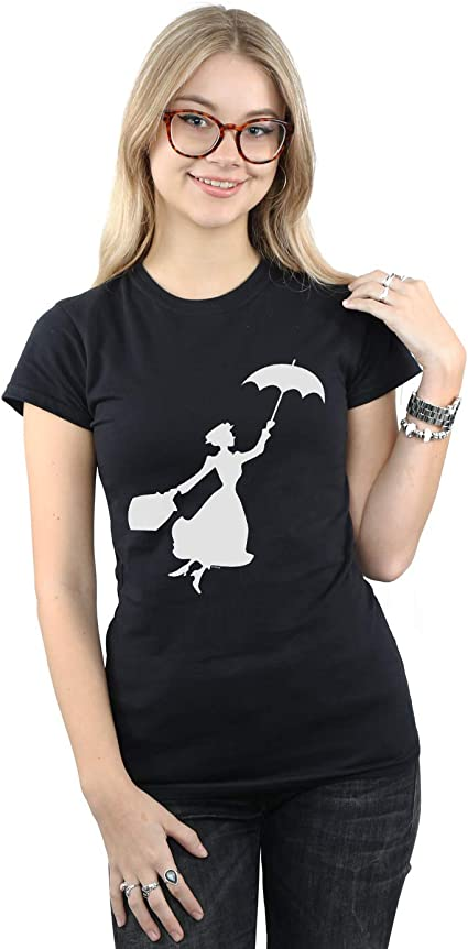 Disney Mujer Mary Poppins Flying Silhouette Camiseta Negro Medium