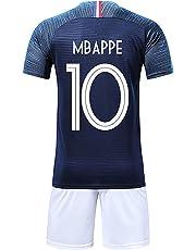 4ad40e555b3cc Brofans Garçon Ensemble de T-Shirt et Short Coupe du Monde France 2 étoiles  Football