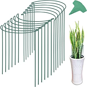 GROWNEER 12 Packs 15.7 Inches Half Round Garden Plant Support Ring with 15 Pcs Plant Labels, Metal Garden Border Supports for Tomato, Rose, Vine, Climbing Plants