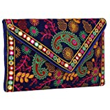 Evergreen Handmade Embroidered Banjara foldover Clutch Purse-Sling Bag-Cross Body Bag (Blue Multi Color)