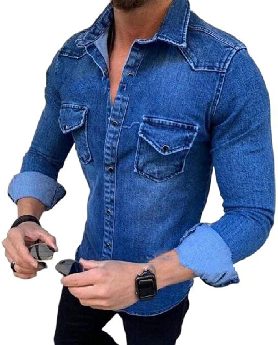 BU2H Men Work Denim Wash Casual Pockets Button Down Long Sleeve Shirts