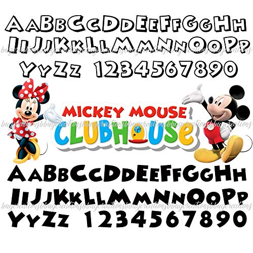 (Mickey Mouse Clubhouse Minnie Daisy Duck Font Alphabet Numbers Letters DIY Digital File SVG Birthday Party Kids Girls Boys Favors Decorations Halloween Cupcake Cake Toppers Banner Shirt Costume Outfit)