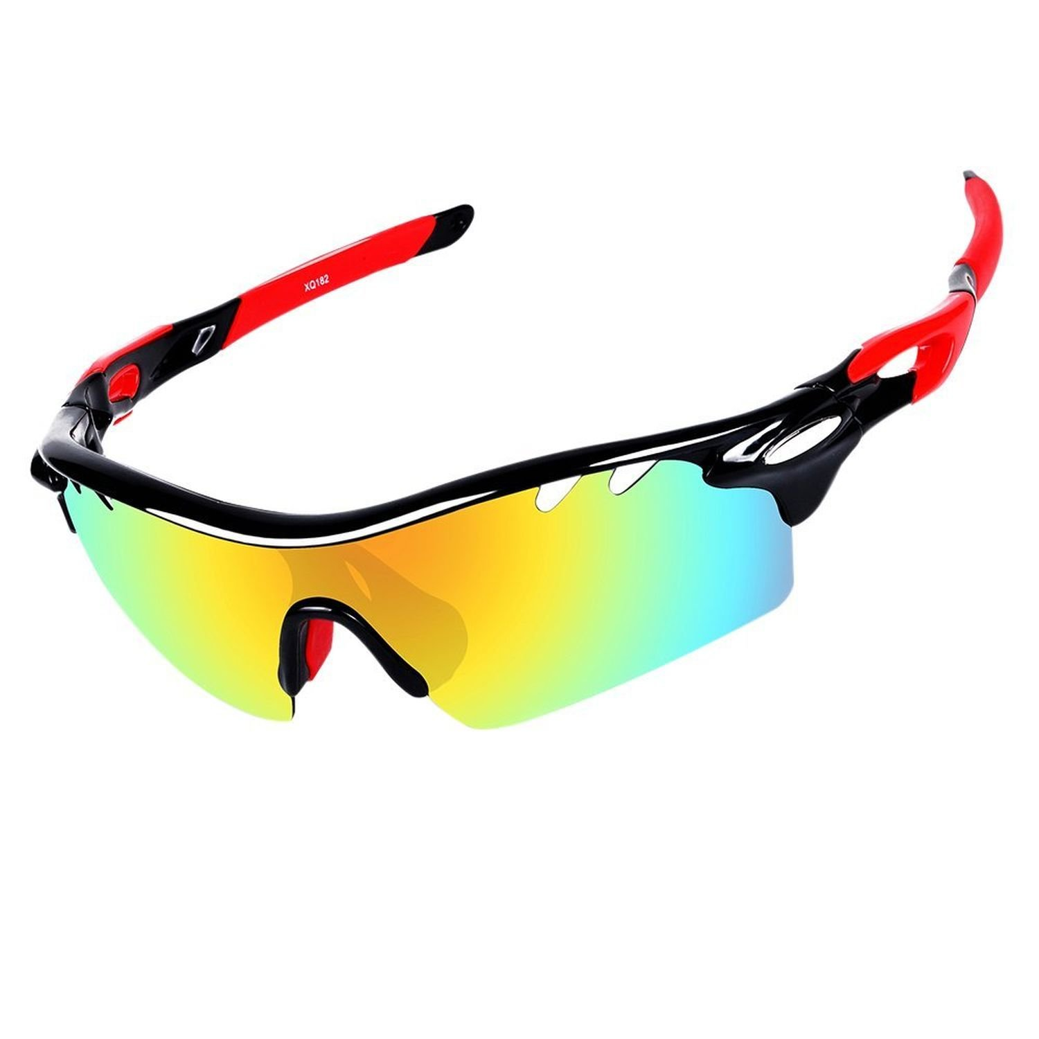Polarized Sports Sun Glasses - UV-Resistant Sunglasses with Interchangeable Lenses, Protective Cycling Glasses and Unisex Polarization Glasses for Baseball, Running, Fishing, Improve Visibility