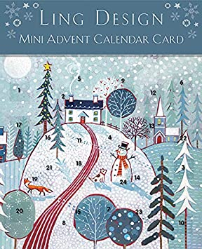 Christmas Scene.Ling Designs Advent Calendar Card Christmas Scene With 24 Doors And White Mailing Envelope 159 Mm X 159 Mm