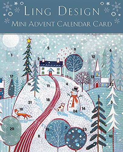 Ling Designs Advent Calendar Card CHRISTMAS SCENE with 24 Doors and White Mailing Envelope 159 mm x 159 mm