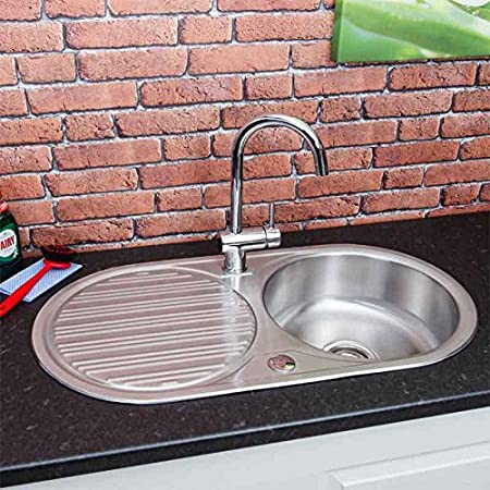 Stainless Steel Inset Round Kitchen Sink Single Bowl Reversible Drainer Waste Amazon Co Uk Kitchen Home