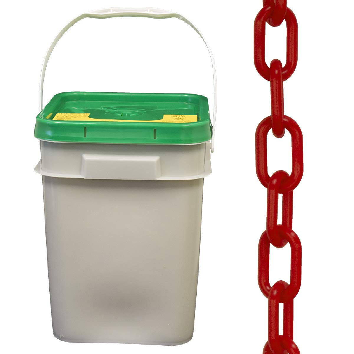 Chain Plastic Barrier Chain Pail 160-Foot Length Mr 50005-P 2-Inch Link Diameter Red