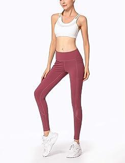 ZMJY Medias Yoga para Deportes, Leggings Sudor Travieso Pantalones de Cintura Alta Gimnasio Pantalones Mujeres para Hacer Ejercicio Caminar Bailar y Correr, Extra Suave,Merlotred,L