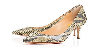 30a3a330b59a FSJ Women Sexy Pumps Leopard Snake Prints Shoes Pointed Toe Kitten Low  Heels Size 4 Bisque