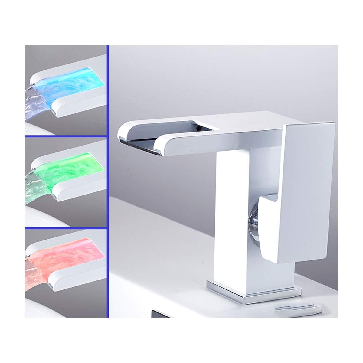 QIANZICAIDIANJIA Faucet, LED Temperature Control Faucet, Hot And Cold Water Faucet, Bathroom Creative New All-copper Basin Faucet stainless steel faucet (Color : White, Size : A) by QIANZICAIDIANJIA