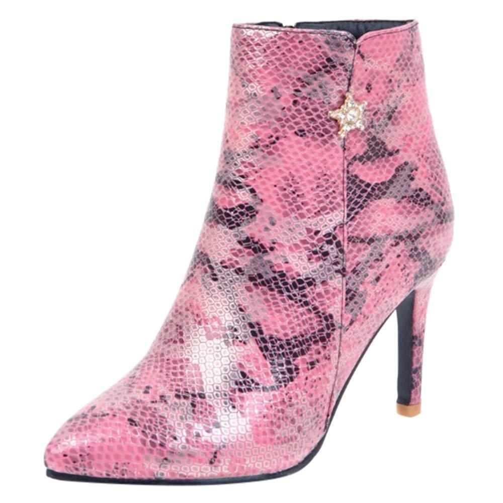 Botas Martin Mujer Invierno Zapatos De Tacó N Alto OHQ Cremallera Lateral Serpiente Patró N Wild Ladies Bare Botines Negro Rojo Beige Azul Zapatos