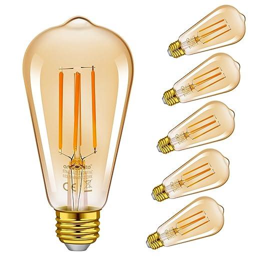Emotionlite LED Edison Bombillas, Bombillas de Filamento LED Regulable, 4W (40W Equivalente)