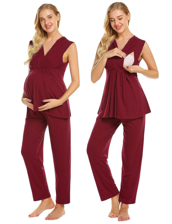 Ekouaer Womens Maternity Nursing Breastfeeding Pajama Set Pregnancy Sleepwear S-XXL EKV007141