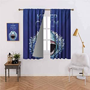 Animals Rod Pocket Window Curtain Panels 42W x 84L,Set of 2 Panels Keep Calm and Shark Jaws Attack Predators Hunter Dangerous Wild Aquatic Nature for Bedroom/Living Room Blue White