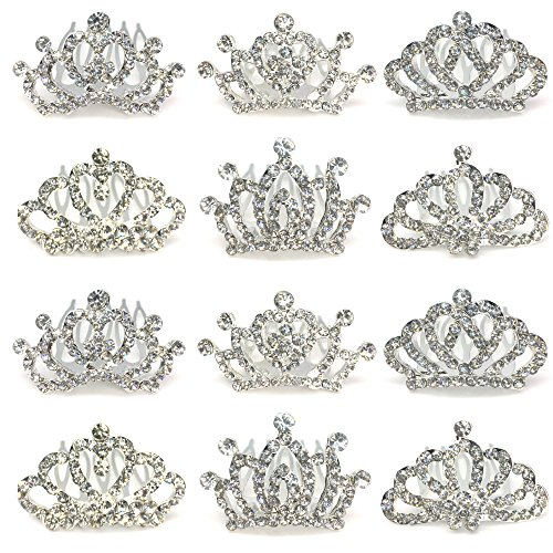 Elesa Miracle 12pc Girl Hair Accessories Rhinestone Tiara Crown Hair Comb Value Set Princess Flower Girl Wedding Party Favor Hair Jewelry