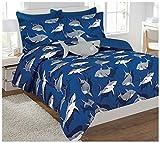 Mk Collection 8pc Full Comforter Set With Furry Shark Pillow Sharks Light Blue Gray White New